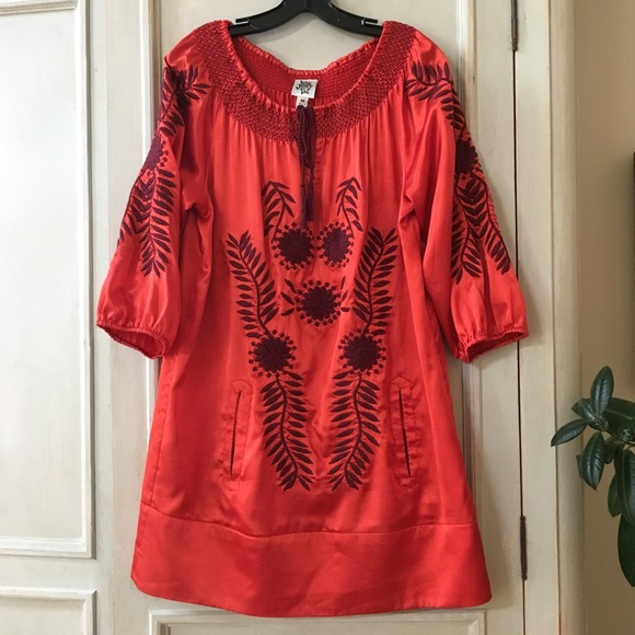 ivy jane Dresses & Skirts - Ivy Jane Red Satin Embroidered Dress/Tunic size M